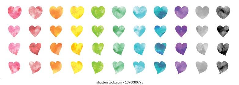 Vector set of rainbow watercolor heart shapes.