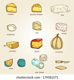 vector set of random cheese 02