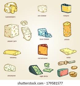 vector set of random cheese 03