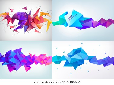 Vector set of realistic abstract 3d shapes. Faceted horizontal background, design elements.  Futuristic style banners, posters.