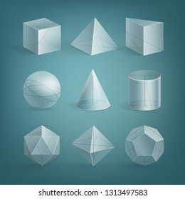Vector set of realistic basic transparent shapes with outline. 3d math geometry figure: cube, prism, cylinder, cone, sphere, pyramid, octahedron, icosahedron, dodecahedron isolated on background