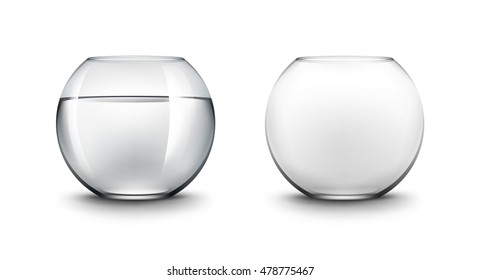 Vector Set of Realistic Black Transparent Smooth Shiny Glass Fishbowls Aquariums with Water without Fish Isolated on White Background