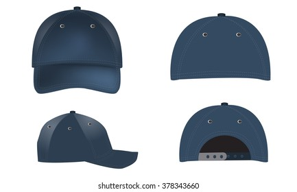 1816ab454114c blue blank cap isolated on white background. Vector set of realistic blue baseball  caps - front