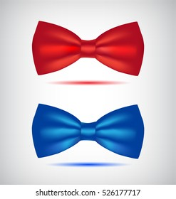 Vector set of realistic blue and red bow ties