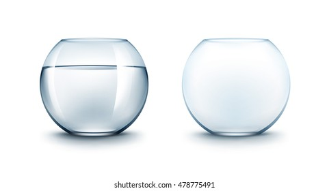 Vector Set of Realistic Blue Transparent Smooth Shiny Glass Fishbowls Aquariums with Water without Fish Isolated on White Background