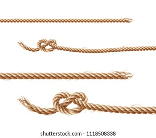 Vector set of realistic brown ropes, jute or hemp twisted cords with loops and knots, isolated on white background. Clipart of various twines, decorative elements for borders and frames