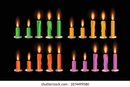 Vector set of realistic burning multi colored candles on black background. yellow, green, pink, candles. Flat illustration vector.