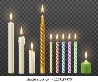 Vector set of realistic burning white candles, birthday party cake colorful twisted candles. Isolated on transparent background