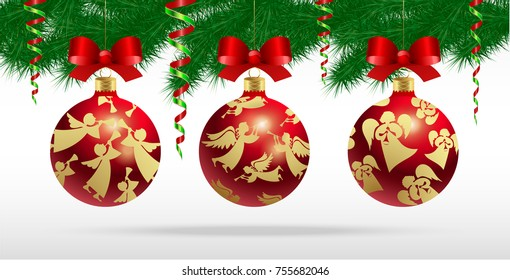 Vector set of realistic Christmas tree balls with a pattern of golden angels with silk bows and carnival serpentine on a background of green spruce branches.