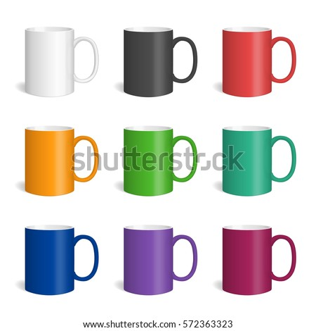 vector set realistic colored mugs isolated stock vector royalty