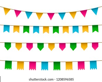 vector set of realistic colorful  flag, buntings garland with shadow isolated on white background.  Various flags types. Vector mockup.