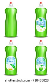 Vector set of realistic dishwashing liquid product icons isolated on background. Plastic bottle label design. Washing-up liquid or dishwashing soap brand advertising templates.