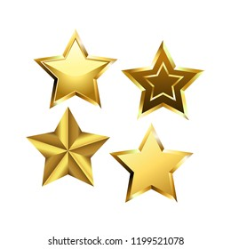 Vector set of realistic golden 3D star isolated on white background. Glossy Christmas stars icon. Design elements for holidays. Vector illustration EPS 10 file