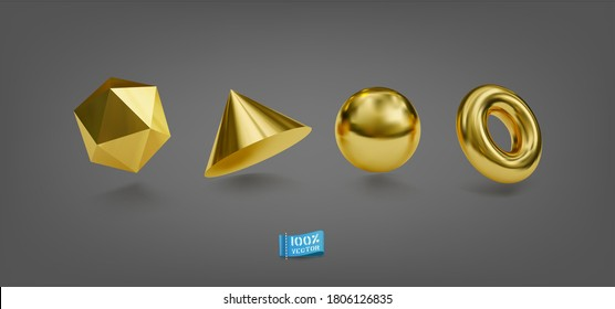 Vector Set of Realistic Golden Geometric Forms. Isolated geometry objects metallic color. Decorative Elements for design.