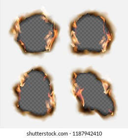Vector set of realistic holes burnt in paper with brown edges and flames isolated on transparent background