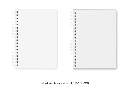 Vector set of realistic images of notebooks: hardcover and soft cover, top view. White sheets of paper (A5), fixed with a white spiral, 3d. The image was created using gradient mesh. Vector EPS 10.