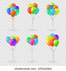 Vector set of realistic isolated balloons for celebration and decoration on the transparent background. Concept of happy birthday, anniversary and wedding