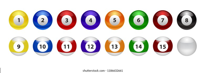 Vector set of realistic isolated billiard pool ball for decoration and covering on the white background.