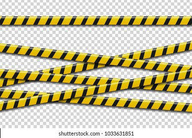 Vector set of realistic isolated caution tape for decoration and covering on the transparent background. Concept of barricade, danger and crime.