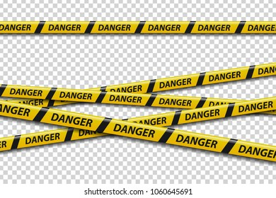 Vector set of realistic isolated caution tape with danger sign for decoration and covering on the transparent background. Concept of barricade, danger and crime.