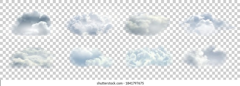 Vector set of realistic isolated cloud for template decoration and covering on the transparent background. Concept of storm.