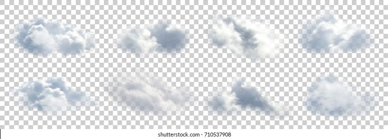 Vector set of realistic isolated cloud on the transparent background.