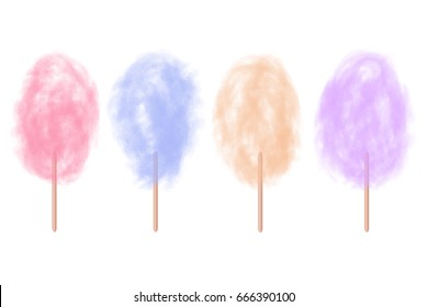 Vector set of realistic isolated cotton sugar candy on the white background.