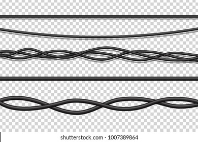 Vector set of realistic isolated electrical wires for decoration and covering on the transparent background. Concept of flexible network cables, electronics and connection.