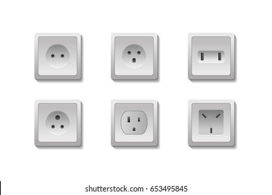 Vector set of realistic isolated european and USA electric outlets on the white background.