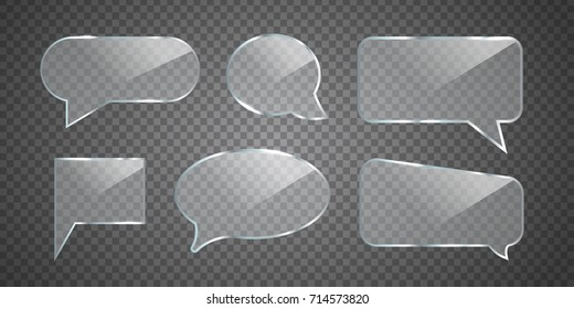 Vector set of realistic isolated glossy glass speech bubbles for decoration and covering on the transparent background.