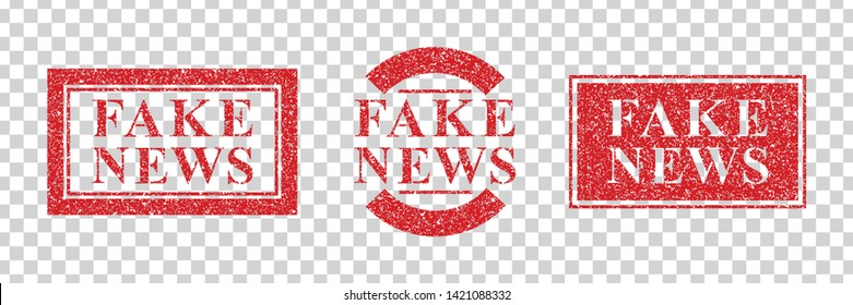 Vector set of realistic isolated grunge rubber stamp of Fake News logo for template decoration on the transparent background.
