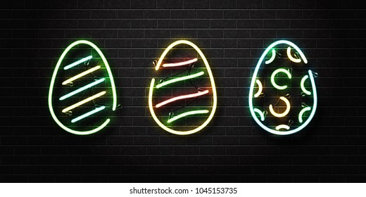 Vector set of realistic isolated neon sign of easter egg for decoration and covering on the wall background. Concept of Happy Easter.