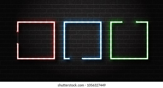 Vector set of realistic isolated neon sign of square frames for decoration and covering on the wall background.