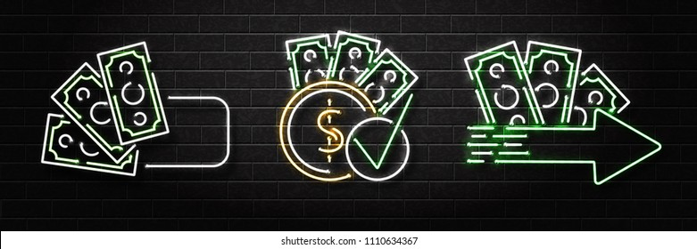Vector set of realistic isolated neon sign of cash loans logo for decoration and covering on the wall background. Concept of fast money and financial crisis.