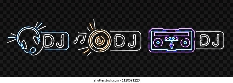 Vector set of realistic isolated neon sign of Dj logo for decoration and covering on the transparent background. Concept of music, radio and live concert.