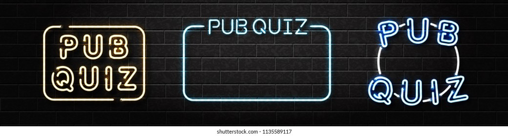Vector set of realistic isolated neon sign of Pub Quiz logo for decoration and covering on the wall background.
