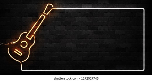 Vector set of realistic isolated neon sign of Guitar frame logo for decoration and covering on the wall background. Concept of music, dj and concert.