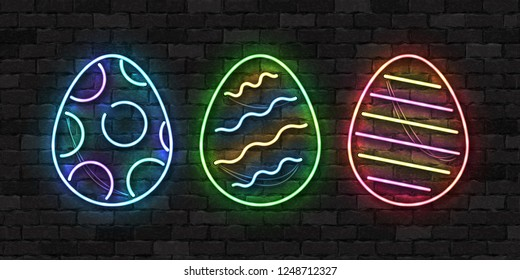 Vector set of realistic isolated neon sign of Easter egg logo for template decoration and layout covering on the wall background. Concept of Happy Easter celebration.