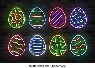 Vector set of realistic isolated neon sign of Easter egg logo for template decoration and covering on the wall background. Concept of Happy Easter celebration.