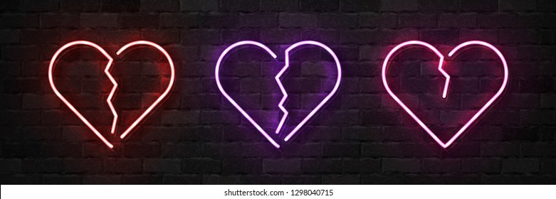Vector set of realistic isolated neon sign of Broken Heart logo for template decoration and layout covering on the wall background. Concept of Unhappy Valentines Day.