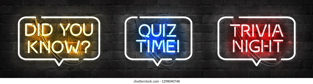 Vector set of realistic isolated neon sign of Quiz and Trivia Night logo for template decoration and covering on the wall background.