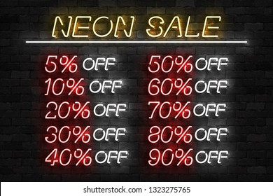 Vector set of realistic isolated neon sign of Neon Sale Discount Percent logo for template decoration on the wall background. Concept of special offer and e-commerce.