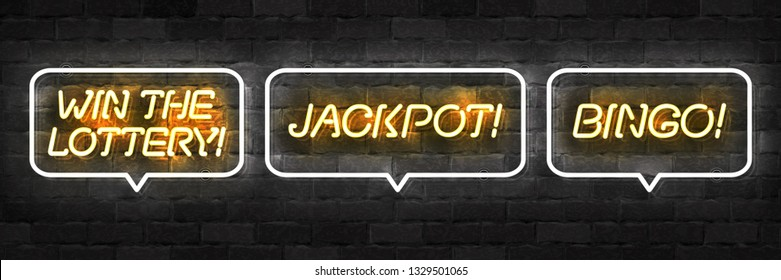 Vector set of realistic isolated neon sign of Win The Lottery, Bingo and Jackpot logo for template decoration and layout covering on the wall background.