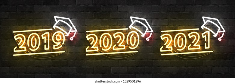 Vector set of realistic isolated neon sign of Graduation logo for 2019, 2020 and 2021 years for template decoration and layout covering on the wall background.