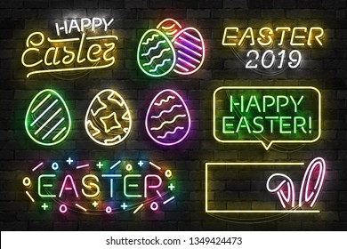 Vector set of realistic isolated neon sign of Easter logo for template decoration and invitation covering on the wall background. Concept of Happy Easter.