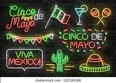 Vector set of realistic isolated neon sign of Cinco De Mayo logo for template decoration and invitation covering on the wall background. Concept of Viva Mexico.