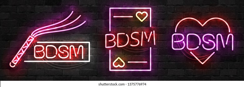 Vector set of realistic isolated neon sign of BDSM logo for template decoration and layout covering on the wall background.
