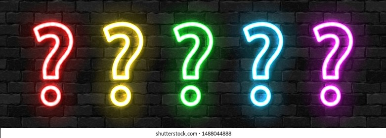 Vector set of realistic isolated neon sign of Question logo for template decoration and covering on the wall background. Concept of trivia and did you know quiz.