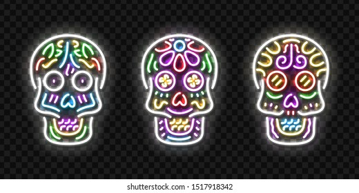 Vector set of realistic isolated neon sign of Skull logo for template decoration and covering on the transparent background. Concept of Dia De Los Muertos, Day of the Dead, Happy Halloween in Mexico.