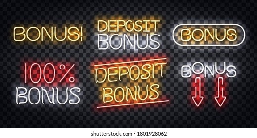 Vector set of realistic isolated neon sign of Bonus logo for decoration and covering on the transparent background.